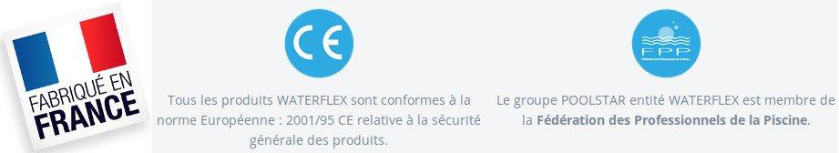 Vélo aquabike Waterflex fabrique en France et possède une garantie CE des autorités Européennes