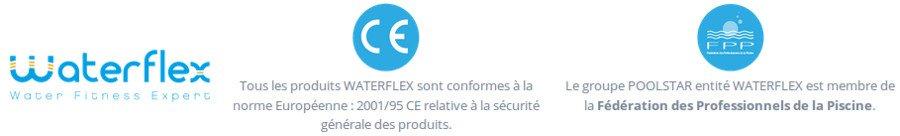 Certifications sur la qualité de la gamme d'aquabikes Waterflex WR