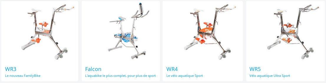 Gamme de vélo aquabikes Waterflex pour tous les usages : réguliers, sportifs ou intensifs